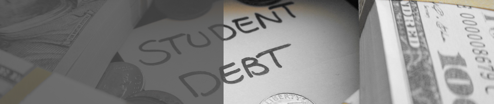 "Debt - ""Student Debt"" written with cash around word"